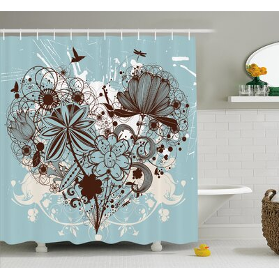 Floral Dragonfly Shower Curtain Size: 69 H x 84 W