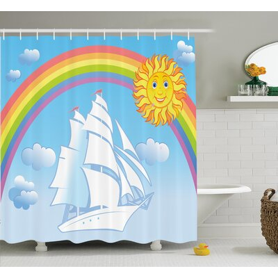 Rainbow Nautical Decor Shower Curtain Size: 69 H x 75 W