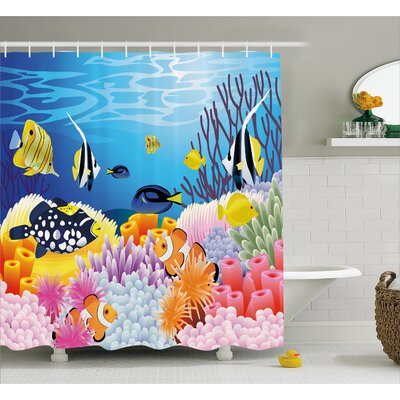 Water Life Decor Shower Curtain Size: 69 H x 70 W