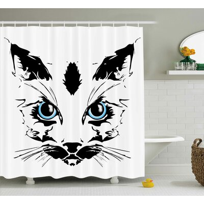Big Cat Face Shower Curtain Size: 69 H x 84 W