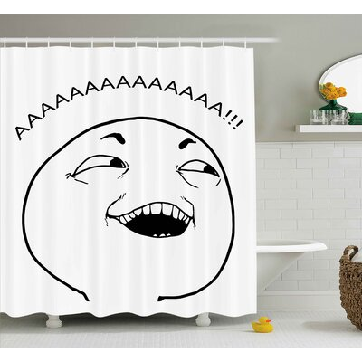 Meme Face Decor Shower Curtain Size: 69 H x 75 W