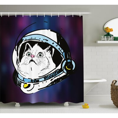 Cat Travelling Space Decor Shower Curtain Size: 69 H x 70 W
