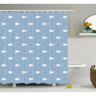 Eddie Nautical Decor Shower Curtain Size: 69 H x 75 W