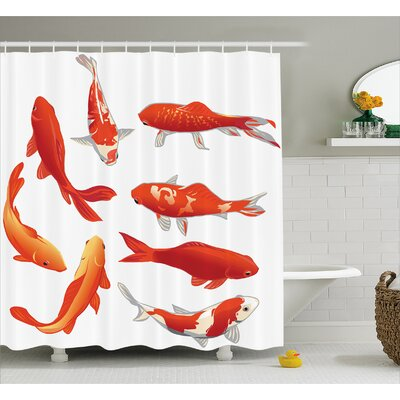 Koi Fish Decor Shower Curtain Size: 69 H x 84 W