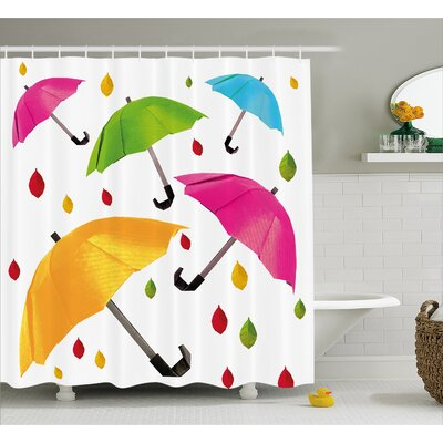 Umbrella with Leaf Droplets  Decor Shower Curtain Size: 69 H x 84 W