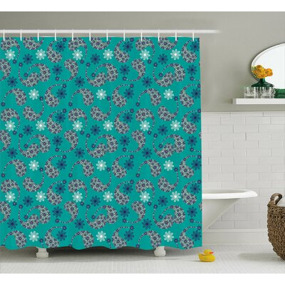 Flower Backgrounded Decor Shower Curtain Size: 69 H x 70 W