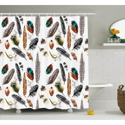 Graphic Print Feather Decor Shower Curtain Size: 69 H x 84 W
