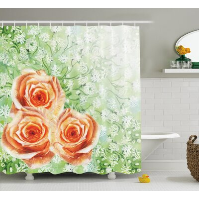 Roses on Grass Decor Shower Curtain Size: 69 H x 75 W