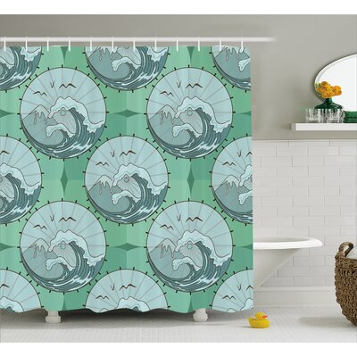 Wave Mountain Decor Shower Curtain Size: 69 H x 75 W