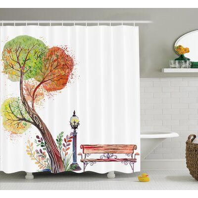 Clovis Tree and Bench Drawing Decor Shower Curtain Size: 69 H x 70 W