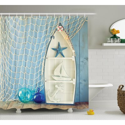 Carterton Nautical Decor Shower Curtain Size: 69 H x 84 W