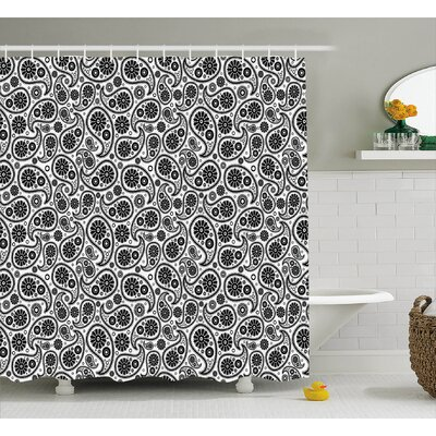 Floral Geometrical Decor Shower Curtain Size: 69 H x 75 W