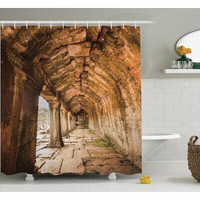 Ancient Temple Decor Shower Curtain Size: 69 H x 70 W