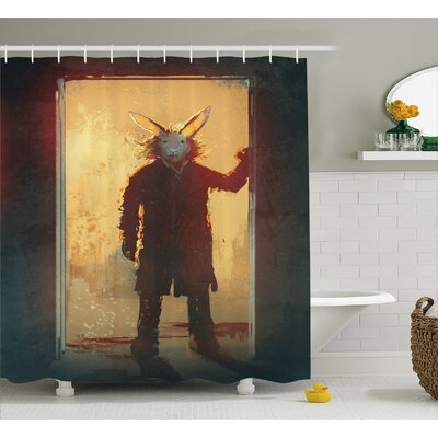 Man With Rabbit Decor Shower Curtain Size: 69 H x 70 W