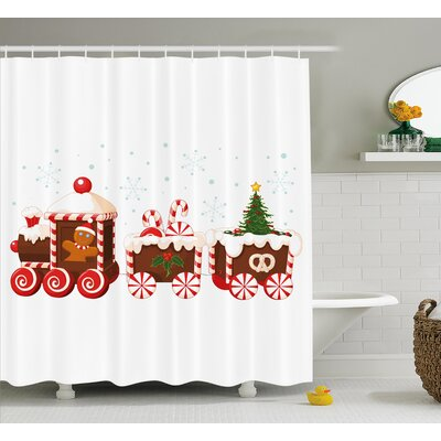 Christmas Candy Train Shower Curtain Size: 69 H x 70 W