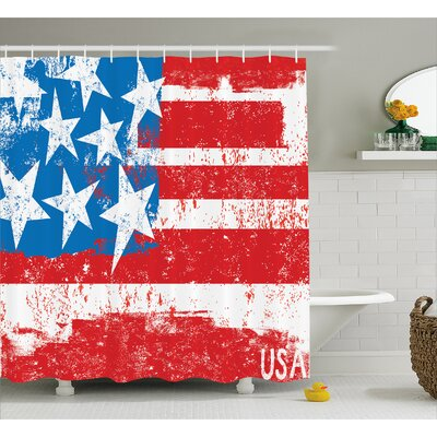 Inspiration Retro Flag Decor Shower Curtain Size: 69 H x 75 W