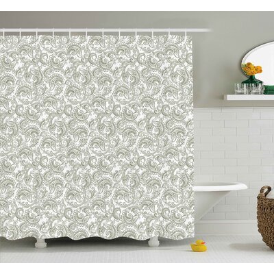 Traditional Damask Shower Curtain Size: 69 H x 70 W