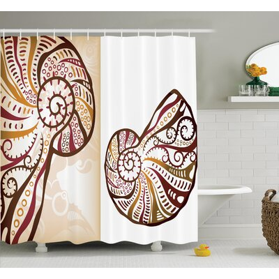 Boho Seashells Shower Curtain Size: 69 H x 75 W