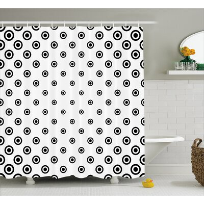 Round Shaped Dots Decor Shower Curtain Size: 69 H x 75 W
