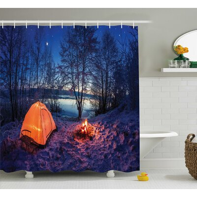Night Camping Decor Shower Curtain Size: 69 H x 84 W