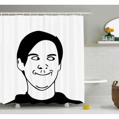 Face Man Decor Shower Curtain Size: 69 H x 75 W