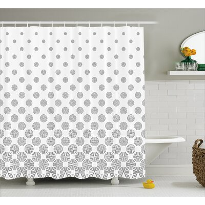 Circle Concentric Decor Shower Curtain Size: 69 H x 70 W
