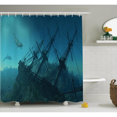Dolphins Nautical Decor Shower Curtain Size: 69 H x 84 W