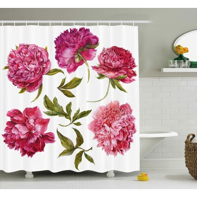 Spring Buds Shower Curtain Size: 69 H x 84 W