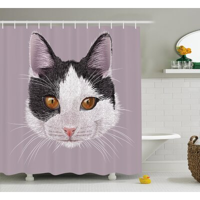 Kitty Shower Curtain Size: 69 H x 70 W