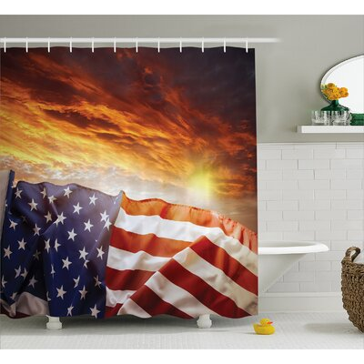 Flag and Sky Decor Shower Curtain Size: 69 H x 70 W