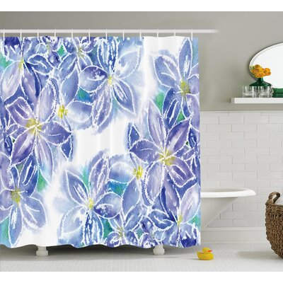 Spring Season Blossoms Decor Shower Curtain Size: 69 H x 75 W