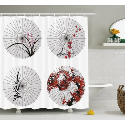 Floral Lines and Bamboo Decor Shower Curtain Size: 69 H x 75 W