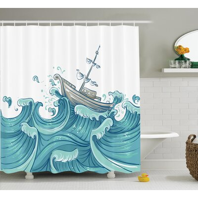 Giant Waves Nautical Decor Shower Curtain Size: 69 H x 84 W