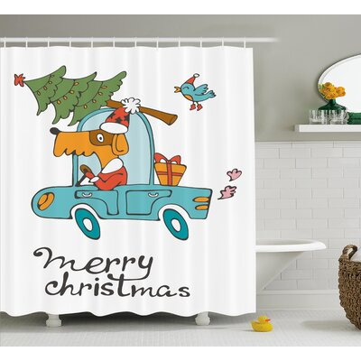 Christmas Car with Dog Driving Shower Curtain Size: 69 H x 84 W
