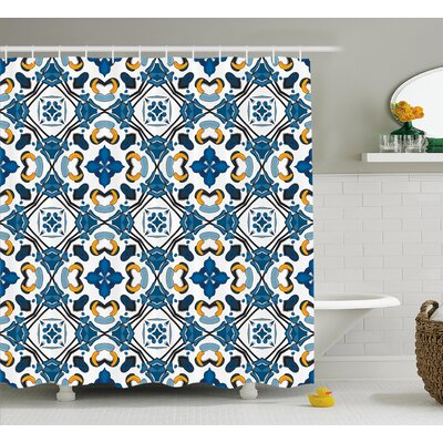 Classic Tilework Decor Shower Curtain Size: 69 H x 70 W