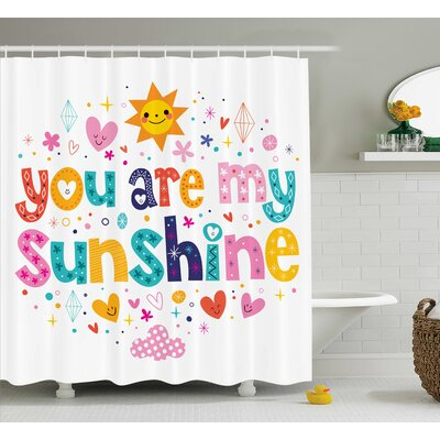 Ridley Text Print Quotes Decor Shower Curtain Size: 69 H x 75 W