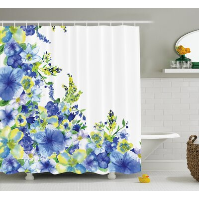Motley Floret Motifs Decor Shower Curtain Size: 69 H x 75 W