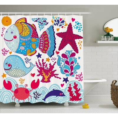 Marine Decor Shower Curtain Size: 69 H x 84 W