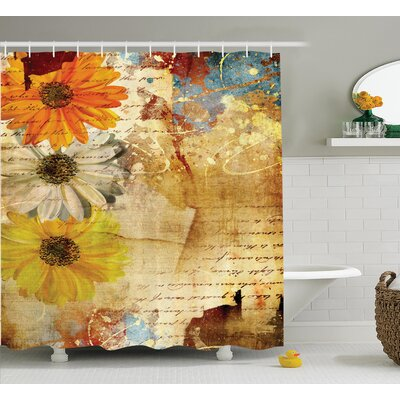 Flowers and Poetry Decor Shower Curtain Size: 69 H x 75 W
