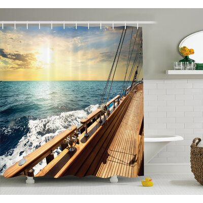 Sailboat Shower Curtain Size: 69 H x 75 W