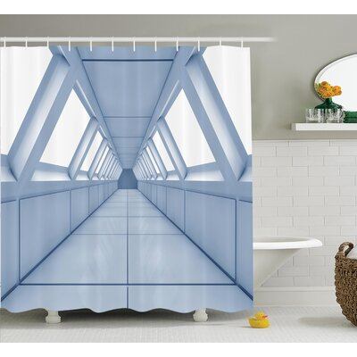 Corridor of Futuristic Spaceship Decor Shower Curtain Size: 69 H x 75 W