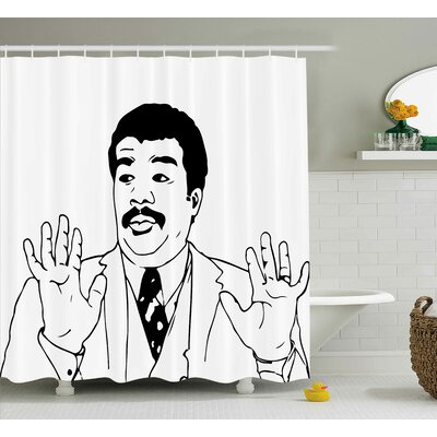 Hands Up Guy Decor Shower Curtain Size: 69 H x 84 W