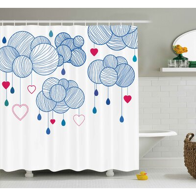 Clouds With Hanging Hearts Decor Shower Curtain Size: 69 H x 75 W