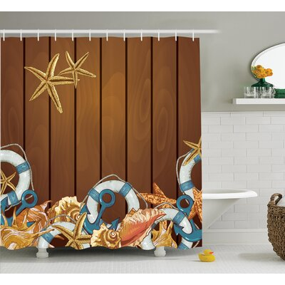 Seashells Anchors Starfish Backdrop Shower Curtain Size: 69 H x 75 W
