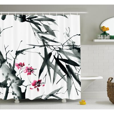 Bamboos With Cherry Blossom Decor Shower Curtain Size: 69 H x 84 W