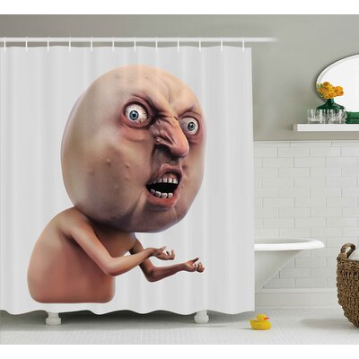Angry Trolling Face Decor Shower Curtain Size: 69 H x 84 W