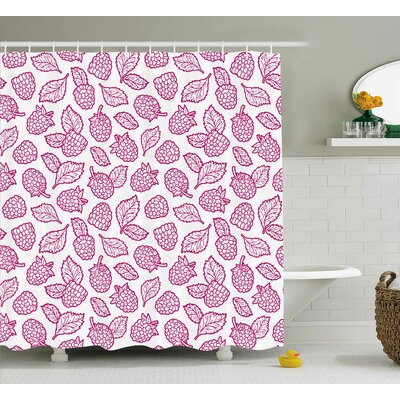 Raspberry Doodle Shower Curtain Size: 69 H x 70 W