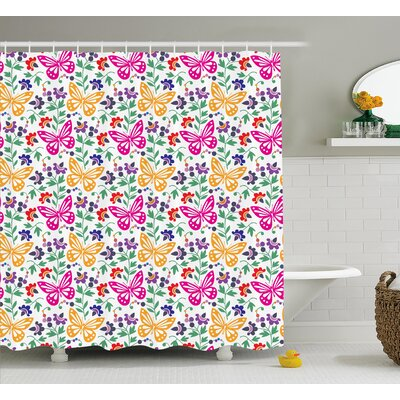 Colorful Spring Shower Curtain Size: 69 H x 70 W