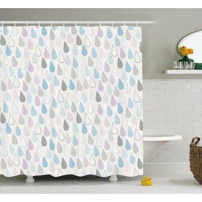 Raindrops Decor Shower Curtain Size: 69 H x 75 W