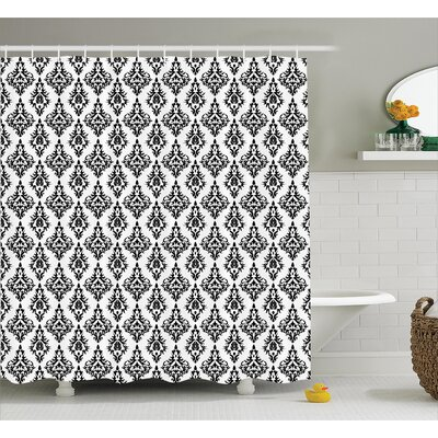 Baroque Stencil Shower Curtain Size: 69 H x 75 W